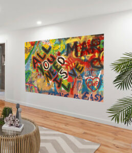 Painting Graffiti Street Art all you need is love Print Canvas licensed image
