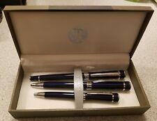 Bill Blass Indigo Pen, Rollerball, and Mini Pen Set of 3 Inside Case Black Ink