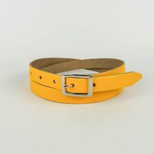 "Yellow Real Leather Belt Skinny Womens Belt Handmade Bright 3/4"" Ladies 20mm"