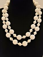 Vintage/Mid Century/White Ridged Beads/Spacers/Gold Tone Trim/Choker/Necklace