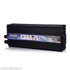 2000W Car Vehicle USB DC 12V to AC 220V Power Inverter Adapter Converter - Black