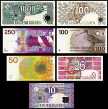 s32)  10 25 50 100 100 250  1000  gulden banknotes Netherlands, 1977 - 1999