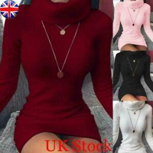 Womens Winter Long Sleeve Knit Jumper Mini Dress Ladies Bodycon Sweater Dresses