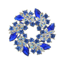 Christmas Collection Royal Blue Circle Wreath Rhinestones Brooches Silver BR447
