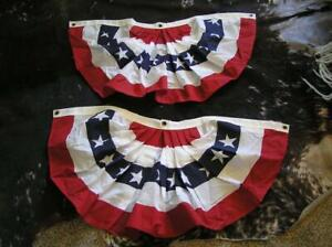 """Annin & Co Pleated Fan Flags American US Bunting Flag Patriotic  37 x17"""" Banners"""