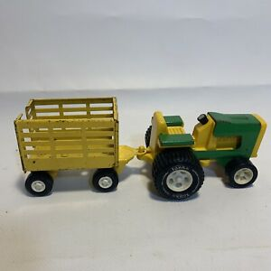 Vintage TONKA FARM TRACTOR (811002) and Trailer (55320) Green Yellow Metal Toy