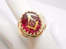 10k Yellow Gold Red Stone G Compass Men's Masonic Ring Sz 10.5 #3208
