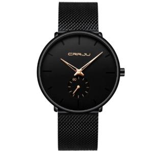 Crrju Fashion Mens Watch Top Brand Luxury Quartz Watch Casual Slim Mesh BLACK-RZ