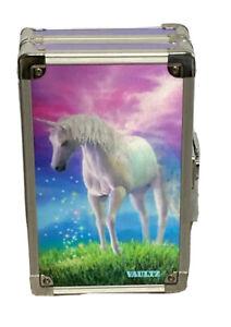 """VAULTZ Unicorn 3D Lock Box Key Locking Pencil/School Box 5"""" W 8.5"""" L 2.5"""" Deep"""