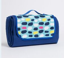 NEW FOLD UP PICNIC BLANKET INDIGO BLUES IDEAL FOR BBQ,BEACH,PARK & MORE