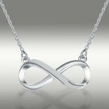 Infinity Pendant Necklace Genuine 14k Solid White Gold & 16+2 Inches Chain Gift