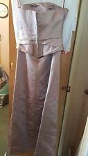 VINTAGE ?WEDDING /BRIDESMAID DRESS 2 PIECE SUIT DARK BEIGE STRAPLESS S 8 D'ZAGE