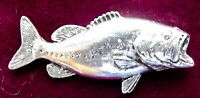 Pewter Bass Fishing Brooch Pin  Quality