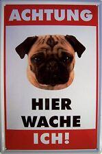 Atención Perro Menso chapa escudo Escudo de chapa de metal metal Tin sign 20 x 30 cm