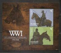 St Vincent ,100th Anniversary of world War One , Souvenir sheet .MNH