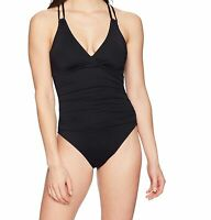 La Blanca NEW Black Womens Size 6 One-Piece Double Strap Swimwear $135 788