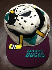 #X19 Vtg Hat Cap Strap Snap Back Anaheim Mighty Ducks Big Logo The Game Rare