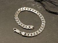 Massives 925 Silber Armband Panzerkette Klassiker Unisex Damen Herren Elegant