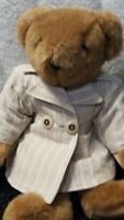 "Vintage VERMONT TEDDY BEAR - 16"" Brown Plush Full Jointed w/Trench Coat 2Button"