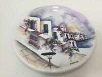 """Vintage Greece Hand Painted Ceramic Plate in Mykonos, 10"""" Diameter"""