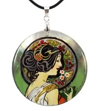Mother of Pearl Russian Hand Painted Necklace Pendant CAT #0926