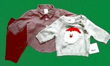 Boys NWT Starting Out 3 Pc Santa Sweater Gingham Shirt Red Cords 3 mos NEW