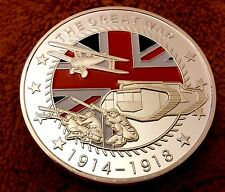 World War I Silver Coin Germany Allies Red White Blue Flag UK II soldier army UK