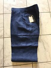 NWT OXFORDS PLAIN Mens Navy Blue Linen Dress Pant Regular Flat Front Size 44