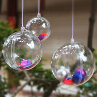 Clear Plastic Fillable Ball Ornaments Xmas Favor Candy Crafts 12 Pc Sphere Sets