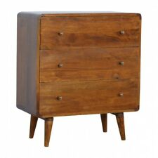Mid Century Curved Dark Mango Wood Chest Of 3 Drawers Scandi Style Handmade