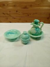 Vtg 70's Avon Green Jadeite Slag Glass Lot Pitcher 2 Bowls/Powder Sachet