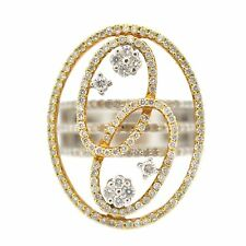 18k Two Tone Gold 1.29 Ct Exotic Diamond Fashion Ring Size 7 (Sizable)