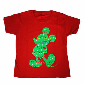 Disney Boys Red Short Sleeve Knit Mickey Mouse Holiday Lights Graphic T Shirt XS