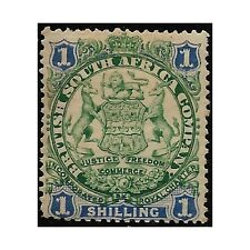 Rhodesia stamps 1896 Badge, 1 Shilling green/blue SG.35 MH -F499