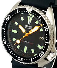 """Vintage SEIKO Diver 7002 Mod w/all NEON ORANGE Plongeur & """"Lollipop"""" SS Hand Set"""