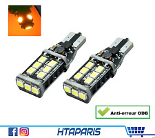 2 ampoules T15 W16W  - CANBUS ANTI ERREUR ODB - ORANGE AMBRE  15 smd LED 12V