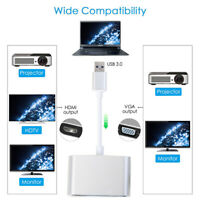 For Mac OS Projector USB 3.0 to HDMI VGA 1080P HD Adapter 2 in 1 Hub Converter