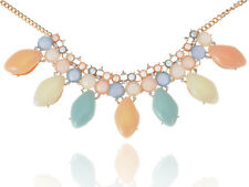 Golden Tone Rhinestone Accented Multi Color Bead Chunky Necklace Clr