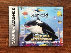 Shamu's Deep Sea Adventures Sea World Gameboy Advance Instruction Manual Only