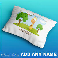 Personalised Cute Safari Animals Pillow Case Cushion Cover Custom Kids Children