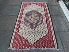 Vintage Fragment Traditional Hand Made Kilim Oriental Wool White Kilim 181x110m