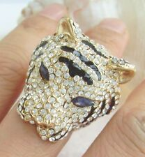 Unique Animal Cocktail Tiger Ring Clear Austrian Crystal CR495C4