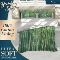Bamboo Forest Plant Green Quilt Cover Single Bed Double Queen King Size