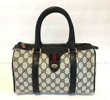 Authentic Vintage GUCCI Web Boston Doctor Bag Satchel Purse Handbag GG Stripe