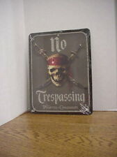 New Sealed Disney Parks Pirates of the Caribbean No Trespassing Metal Sign 8 x11