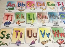 26 cards - Full color Alphabet cards- Pre school Kindergarten Letters -cardstock
