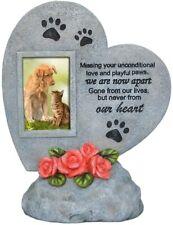 Pet Memorial Stone Heart Shaped Photo Frame Dog Cat Waterproof Plaque For Garden
