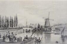 Stahlstich-Nachdruck 20. Jhdt: DIE LOMBARDSBRÜCKE IN HAMBURG 1850 nach J.GRAY