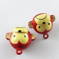 Red&Yellow Tone Cute Cartoon Monkey Bell Brass Pendants Pet Bells 10pcs 51924