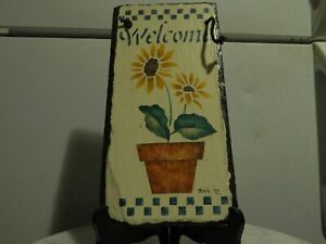 Vintage Hand Painted on Slate Welcome Sign Bock '95